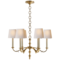 Channing Small Chandelier in Hand-Rubbed Antique Brass with Natural Paper Shades