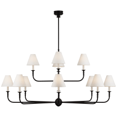 Piaf Grande Two-Tier Chandelier in Aged Iron and Ebonized Oak with Linen Shades