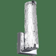 "Cutler 13"" LED Sconce Chrome Bulbs Inc Clear Staggered Rock Glass"