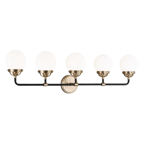 Cafe Five Light Wall / Bath Satin Brass Bulbs Inc