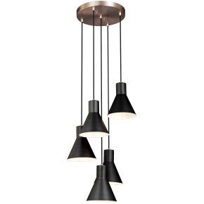 Towner Five Light Cluster Pendant Satin Brass Bulbs Inc