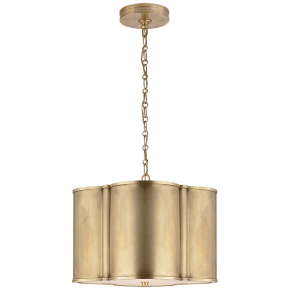 Basil Small Hanging Shade in Natural Brass with Acrylic Diffuser
