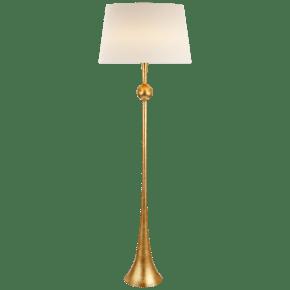 Dover Floor Lamp in Gild with Linen Shade
