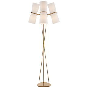 Clarkson Triple Floor Lamp in Hand-Rubbed Antique Brass with Linen Shades