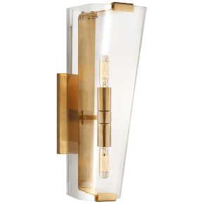 Alpine Single Sconce in Hand-Rubbed Antique Brass with Clear Glass
