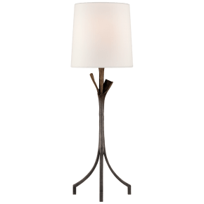 Fliana Table Lamp in Aged Iron with Linen Shade