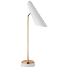 Franca Single Pivoting Task Lamp in Hand-Rubbed Antique Brass with White Shade