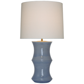 Marella Medium Table Lamp in Polar Blue Crackle with Linen Shade
