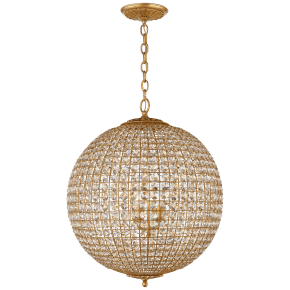 Renwick Large Sphere Chandelier in Gild with Crystal