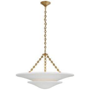 Mollino Medium Tiered Chandelier in Hand-Rubbed Antique Brass with Plaster White Shade