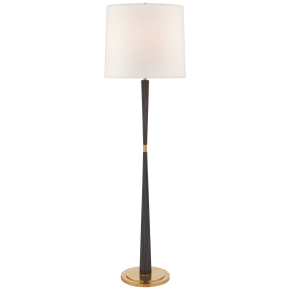 Refined Rib Large Floor Lamp in Ebony and Soft Brass with Linen Shade