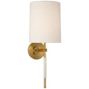 Clout Tail Sconce in Soft Brass with Linen Shade
