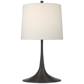 Oscar Medium Sculpted Table Lamp in Aged Iron with Linen Shade