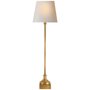 Cawdor Buffet Lamp in Antique-Burnished Brass with Natural Paper Shade