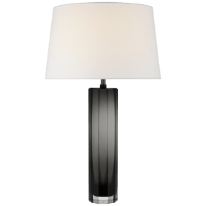 Fallon Large Table Lamp in Smoked Glass with Linen Shade