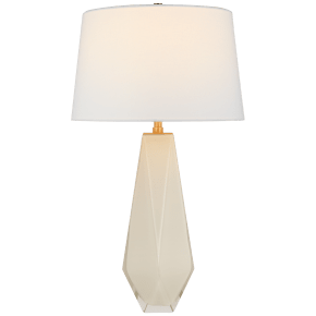 Gemma Medium Table Lamp in White Glass with Linen Shade