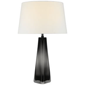 Teagan Large Table Lamp in Smoked Glass with Linen Shade