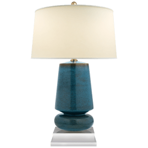 Parisienne Small Table Lamp in Oslo Blue with Natural Percale Shade