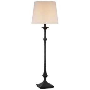 Briar Large Floor Lamp in Aged Iron with Linen Shade