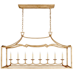 Fancy Darlana Large Linear Pendant in Gilded Iron