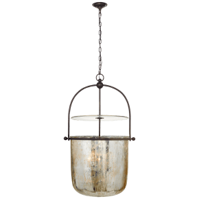 Lorford Large Smoke Bell Lantern in Aged Iron with Antiqued Mercury Glass