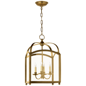Arch Top Small Lantern in Antique-Burnished Brass