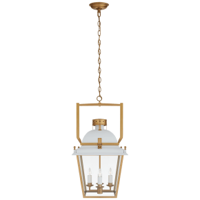 Coventry Small Lantern in Matte White and Antique-Burnished Brass with Clear Glass