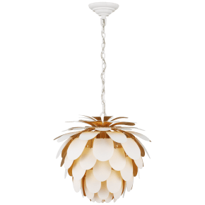 Cynara Small Chandelier in White and Gild