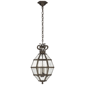 Venezia Small Faceted Scroll-Top Lantern in Aged Iron with Antique Mirror