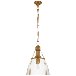 """Prestwick 18"""" Pendant in Antique-Burnished Brass with Clear Glass"""