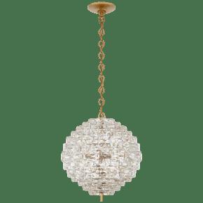 Karina Medium Sphere Chandelier in Antique-Burnished Brass and Crystal