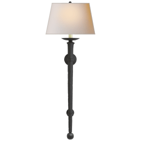 Long Iron Torch in Black Rust with Natural Paper Shade