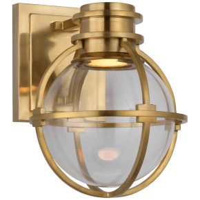 Gracie Single Sconce in Antique-Burnished Brass with Clear Glass