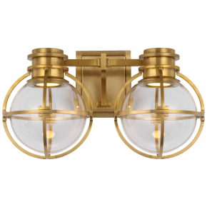 Gracie Double Sconce in Antique-Burnished Brass with Clear Glass