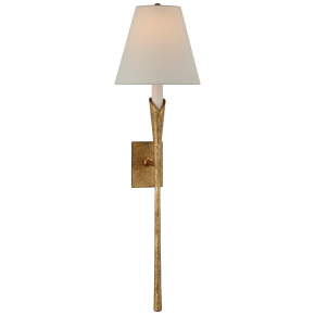 Aiden Large Tail Sconce in Gilded Iron with Linen Shade