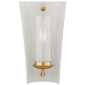 Downey Small Reflector Sconce in White and Gild with Clear Glass