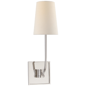 Venini Single Sconce in Polished Nickel with Linen Shade