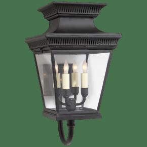 Elsinore Medium Bracket Lantern in Black with Clear Glass