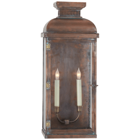 Suffork Wide Tall 3/4 Lantern in Natural Copper