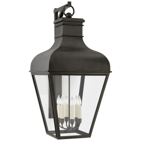 Fremont Grande Bracketed Wall Lantern in French Rust with Clear Glass