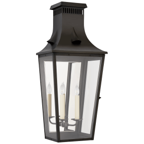 Belaire Large 3/4 Wall Lantern in Blackened Copper with Clear Glass
