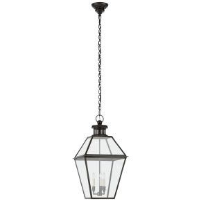 Stratford Medium Hanging Lantern in Blackened Copper with Clear Glass