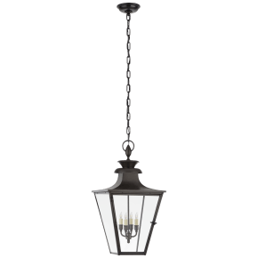 Albermarle Medium Hanging Lantern in Blackened Copper with Clear Glass