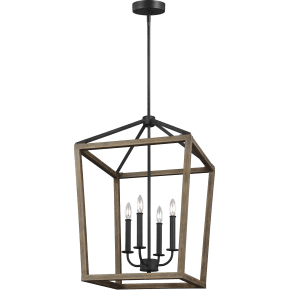 Gannet Medium Chandelier Weathered Oak Wood / Antique Forged Iron