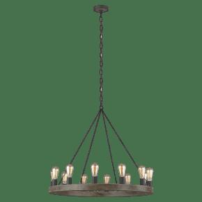 Avenir Medium Chandelier Weathered Oak Wood / Antique Forged Iron