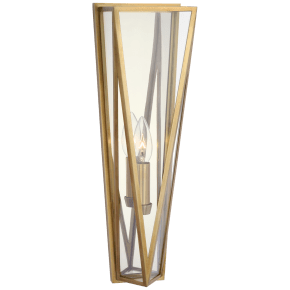Lorino Medium Sconce in Hand-Rubbed Antique Brass with Clear Glass
