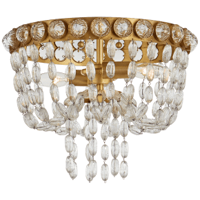 Navona Small Basket Flush Mount in Gild and Crystal