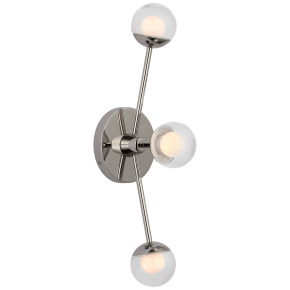 "Alloway 19"" Triple Linear Sconce in Polished Nickel with Clear Glass"