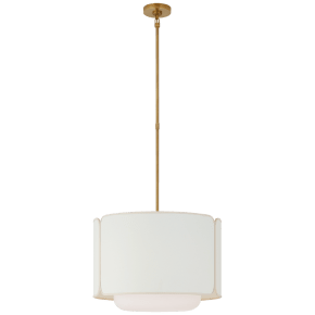 Eyre Medium Hanging Shade in Soft Brass and Soft White Glass with Linen with Cream Trimmed Shade