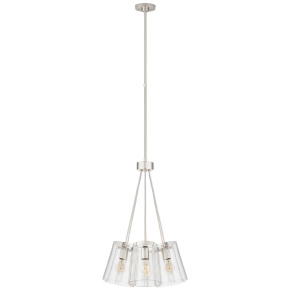 Thoreau Small Chandelier in Polished Nickel and Cream with Clear Glass